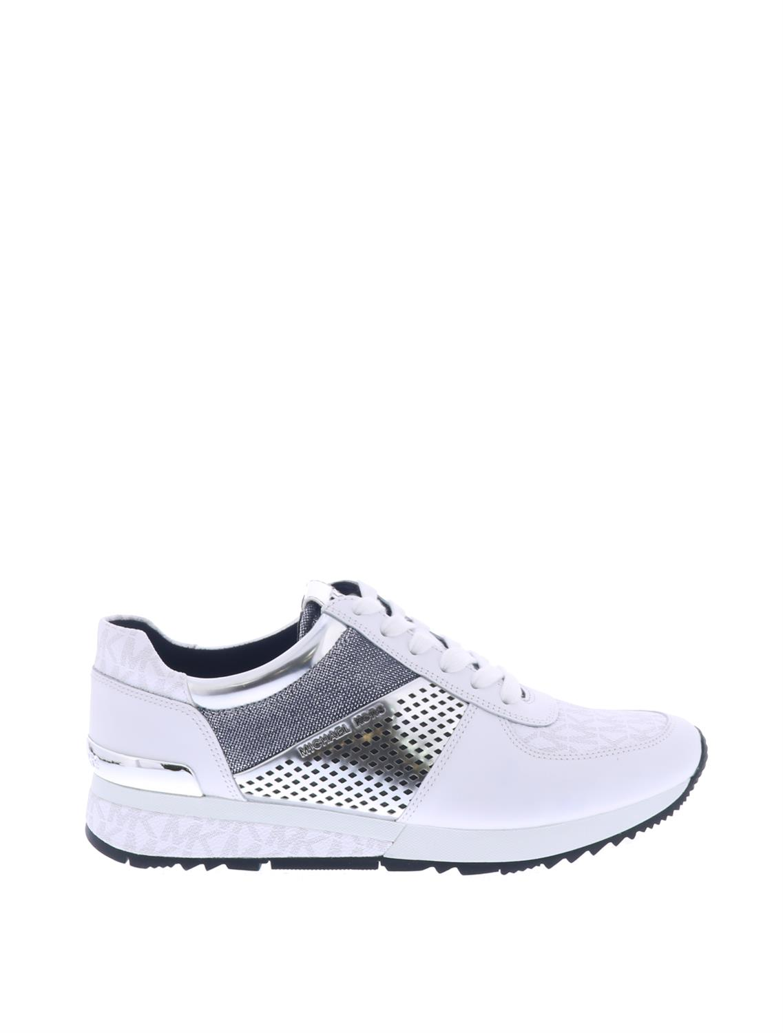 3975b779dc2 < Vorige pagina | Home / Sneakers / Michael Kors Allie Wrap Trainer White  Silver