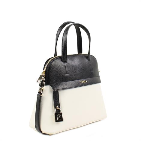 Furla Piper S Dome Colorblock Talco Nero