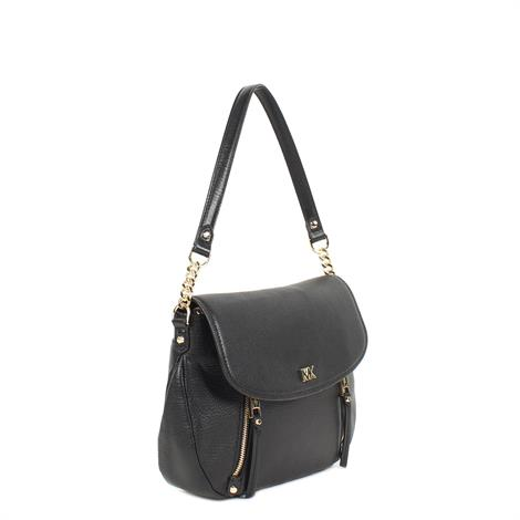 b84b25a020b Michael Kors Evie Medium Leather Shoulder Bag Black ...