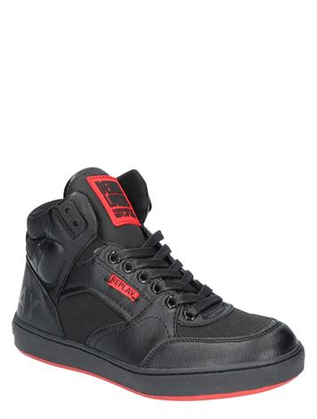 Replay Wall Mid Cut Lace Up Sneaker Black Black