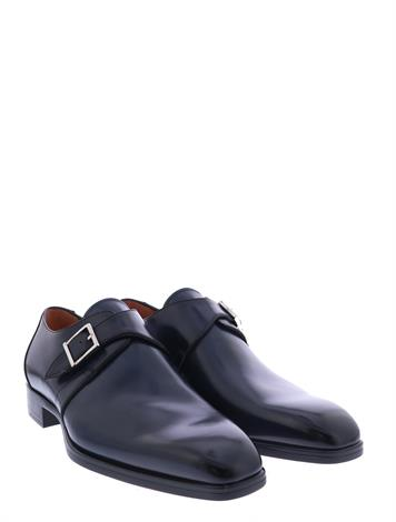 Santoni Leather Single Buckle Shoes Blue G+ Wijdte