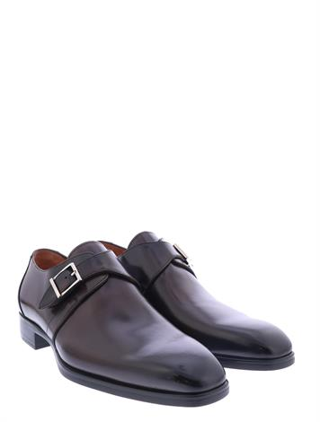 Santoni Leather Single Buckle Shoes Brown G+ Wijdte