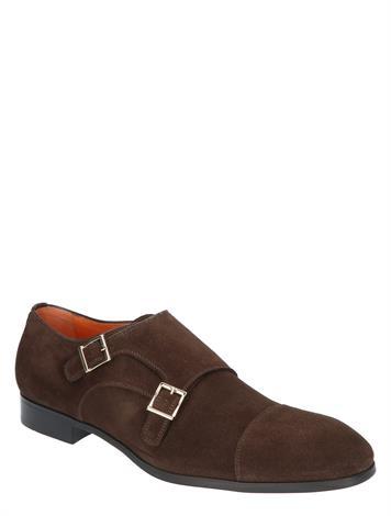 Santoni Suede Double Buckle Shoes Brown G+ Wijdte