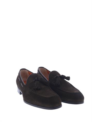 Santoni Suede Loafers Brown G+ Wijdte