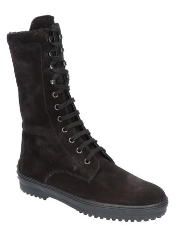 Tod's Iconic Lace-Up Boot in Suede Black