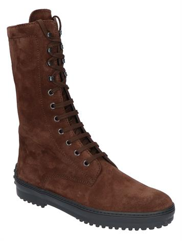 Tod's Iconic Lace Up Boot in Suede Marrone Africa