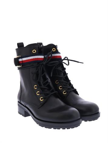 Tommy Hilfiger Ribbon Biker Boot Black
